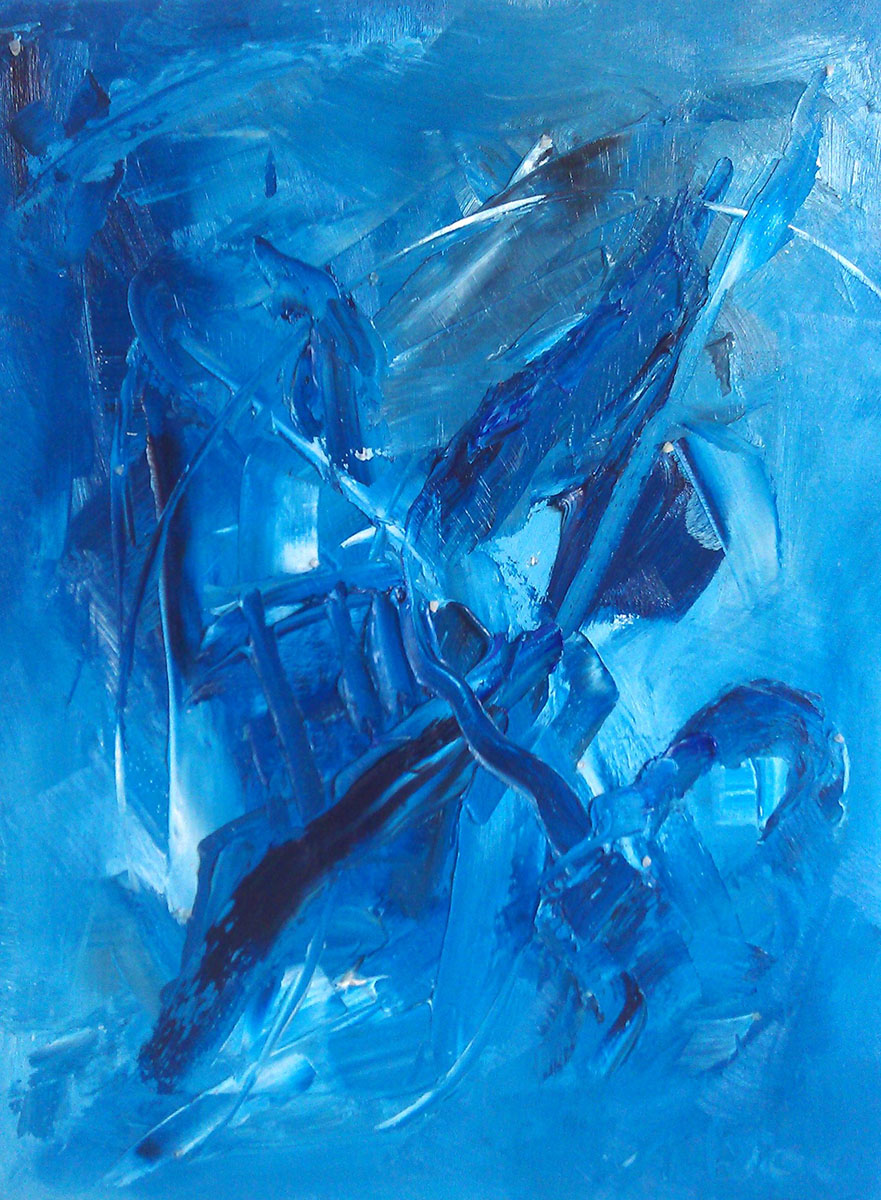 "The Song of the Ice oil on canvas clear quartz, aquamarine 18 x 23.5"" /46 x 60cm"