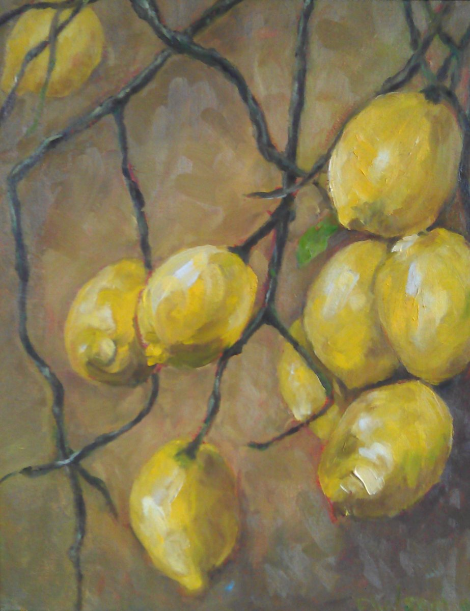 Tasting Tony's Limoncello Even in my Dreams oil on canvas 16×20″/41x46cm