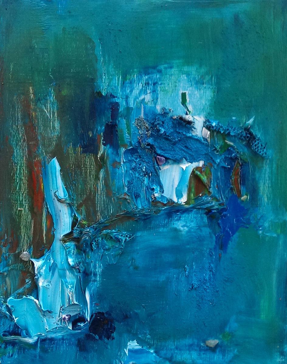 Luncheon view, Havana oil on panel 8×10″ emerald, lapis lazuli