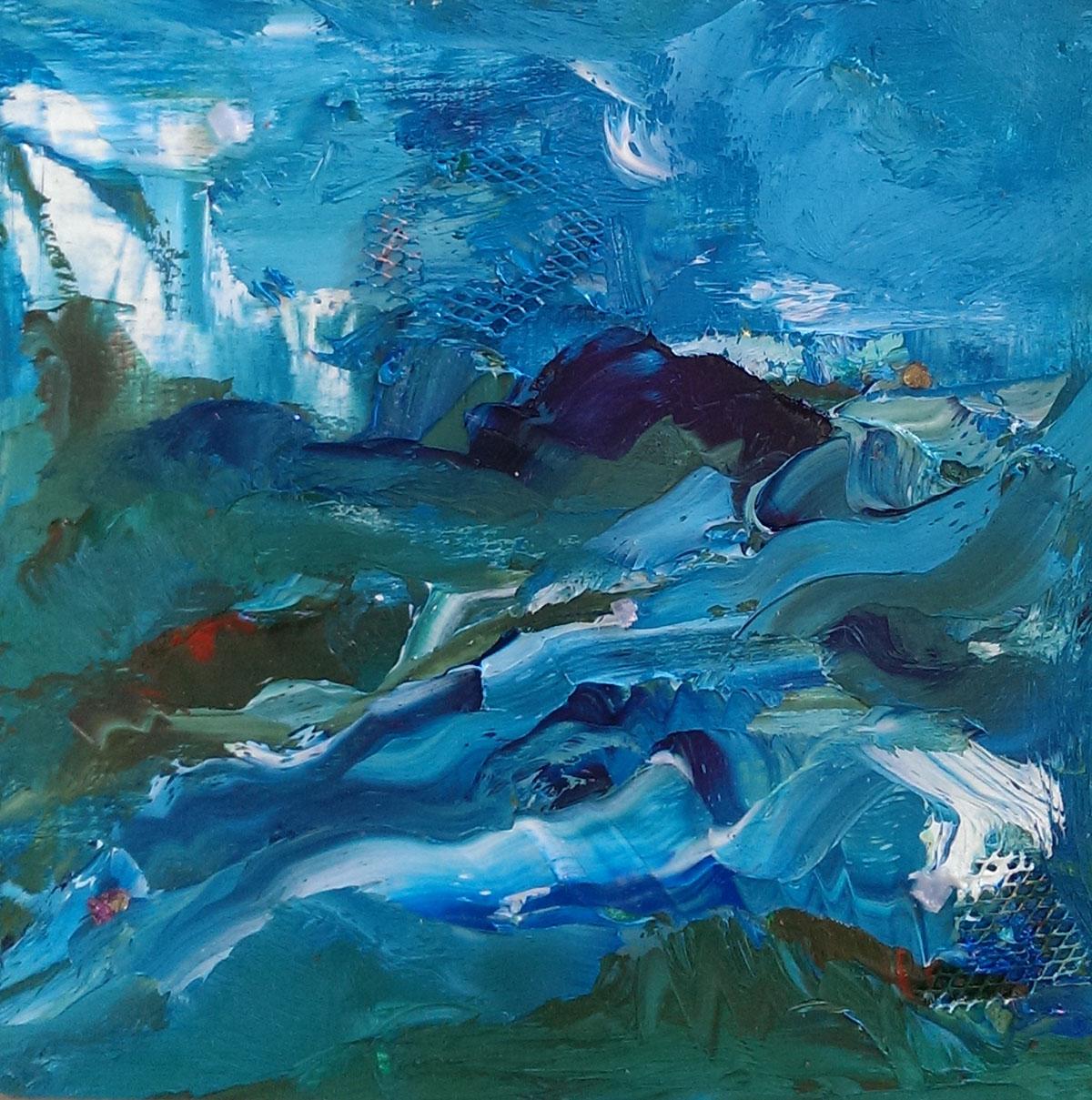 Enroute to Lunch, Havana oil on panel 6×6″. chalcopyrite, blue calcite
