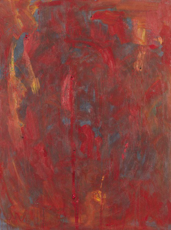 Life Interrupted oil on canvas with almandine garnet, amethyst 30×40″/76x102cm