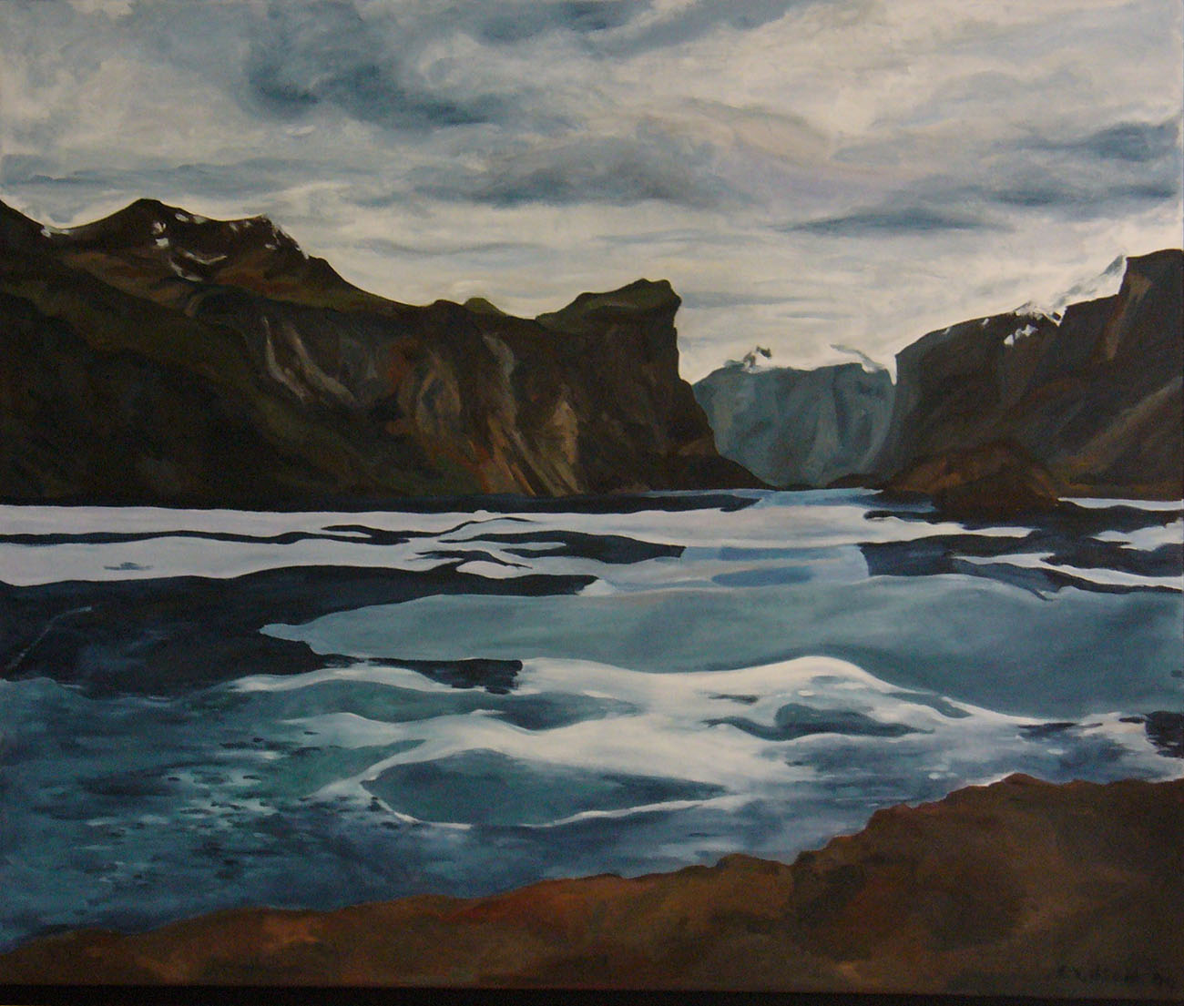 North Pangnurtung Fjord, oil on canvas 42 x 50/107x127cm( Sold to Jeff Wilner)