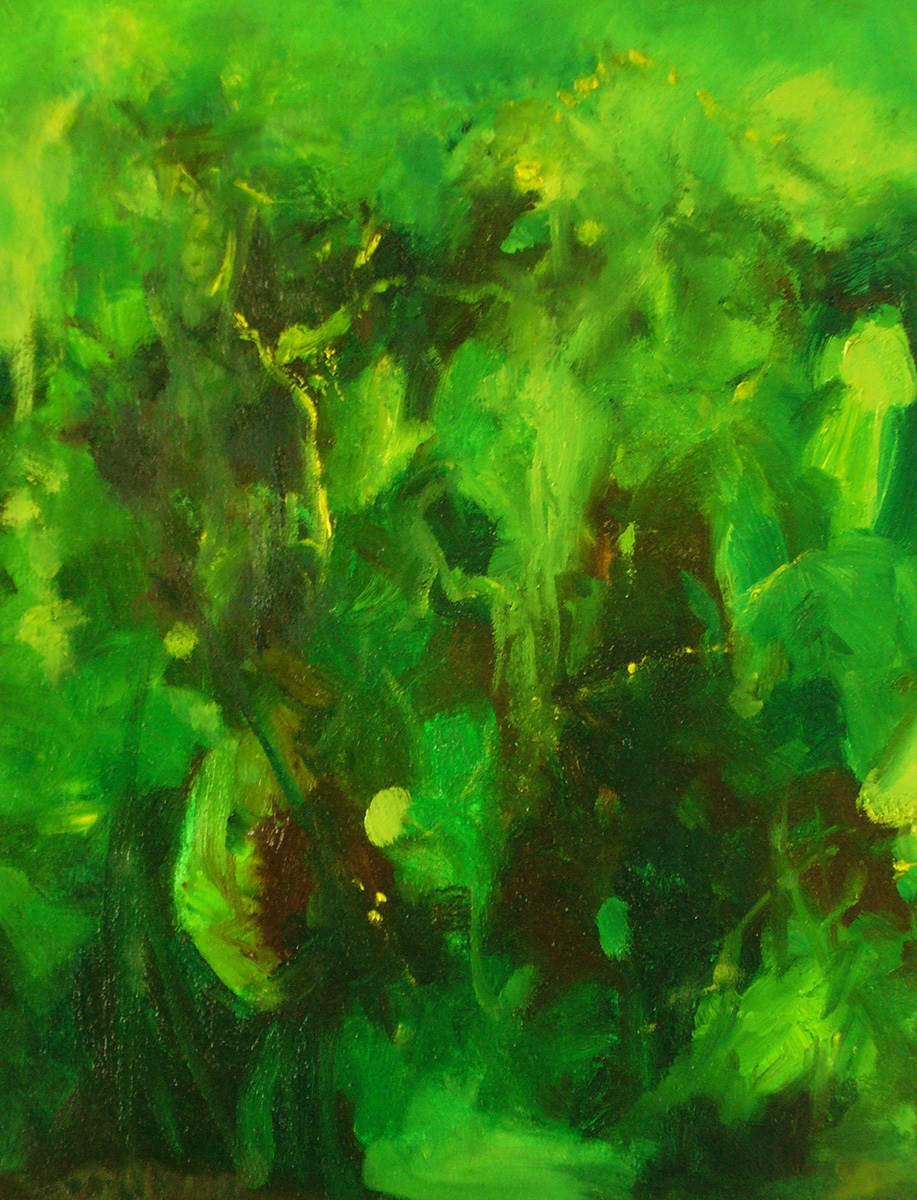Sensing Puma, Amazon Jungle, Peru oil on canvas with peridot, pyrite 20 x 24/51x61cm