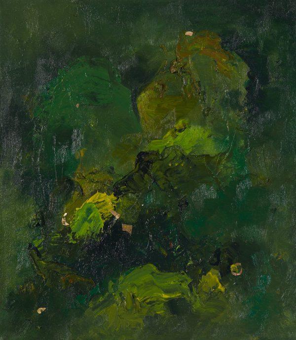 The Love Raining Down oil on canvas with peridot, carnelian, 14×16″/37x41cm