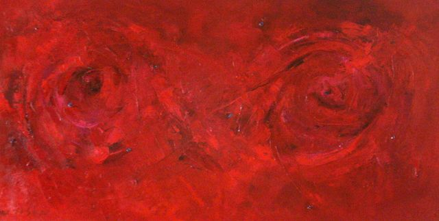 """Base or Root Chakra""oil on canvas with rhodolite garnet, sugalite, 48"" x 24""/122 x 61 cm   The root or first chakra, located at the base of the spine, is the body's energy centre where survival, vitality, stability, trust, and courage live.    Sugalite, a stone of love, has special healing forces for our times.  It protects from disharmony, pollution and negative forces; it helps with getting tasks completed as well as opening the crown chakra.  Sugalite, an excellent remedy for headaches, brings peace and relaxation while helping with insomnia.  Rhodolite garnet is a stone of inspiration that helps to heal and sooth the emotional body encouraging self respect and self love.  It encourages one to both receive and radiate the frequency of love. It holds a frequency of comfort, succour and support; it is helpful in recovery from sexual abuse by clearing these emotional patterns and removing the guilt and the shame. This garnet is an excellent stabilizer, calming the emotional, physical, mental, and ethereal bodies.  It can be used in treatment of heart and lung disorders."
