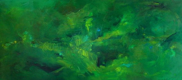 """""""Heart Chakra"""" oil on canvas with peridot, pyrite, 72"""" x 32""""/183 x 81 cm  The 4th or heart chakra, located in the centre of the chest, reconnects us to the green in nature, where we always feel more centred and peaceful.  Pyrite, a stone of protection, shields from negative forces, physically, emotionally and etherically; it allows one to see behind facades reminding us of the everlasting presence of the sun. It keeps out pollutants on all physical levels and allows one to connect with energy of the Earth greatly increasing vitality. Pyrite stimulates intellect and enhances memory; it helps male sexual dysfunction, combats skin disease, fungal infection, as well as cellular invasion by viruses.  Peridot, a healing and cleansing stone, offers a protective shield around the body     helping to bring openness and acceptance to the intellectual pursuits of love and relationship. It helps one to receive with grace and gratitude. Peridot helps to strengthen the blood, counter the effects of anaemia and poor absorption oxygen. It is excellent in helping to recover from tobacco and other inhalant addictions."""