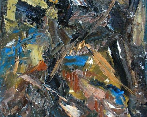 #1 In the Forest, oil on canvas  pyrite , rhodolite garnet 14.9×14.7″/38×37.5cm
