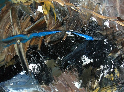 """#4  In the Forest, oil on canvas  pyrite , rhodolite garnet 14.9x14.7""""/38x37.5cm"""