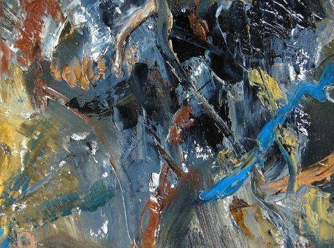 """#5  In the Forest, oil on canvas  pyrite , rhodolite garnet 14.9x14.7""""/38x37.5cm"""