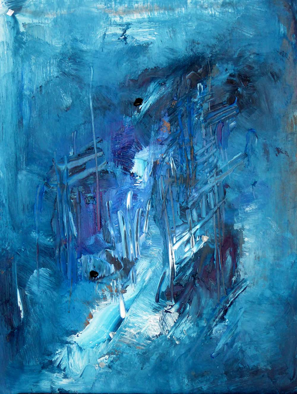 On the Inside oil on canvas with mica, diaptose 24×30″
